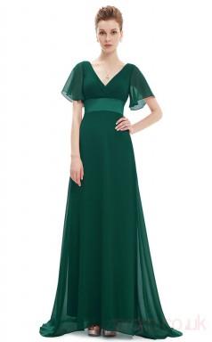 A-line V-neck Hi Low Dark Green Chiffon , Stretch Satin Cocktail Dresses with Short Sleeves (PRJT04-1927-C)