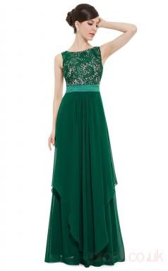 A-line Bateau Neckline Long Dark Green Chiffon , Lace Evening Dresses(PRJT04-1943-B)