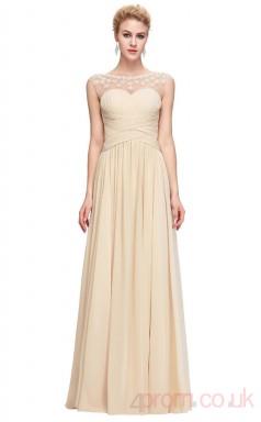 A-line Illusion Long Champange Chiffon Prom Dresses(PRJT04-1963)