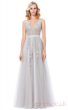 A-line Illusion Long Silver Tulle Prom Dresses(PRJT04-1965)