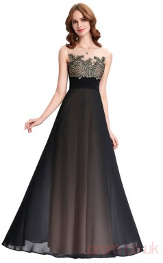 A-line Illusion , Bateau Neckline Long Black Chiffon Prom Dresses(PRJT04-1986)