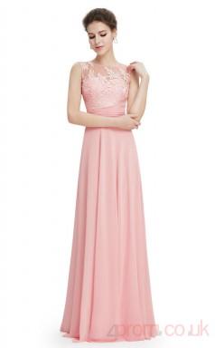 A-line Bateau Neckline Long Candy Pink Chiffon , Lace Prom Dresses(PRJT04-1994)