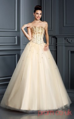 Champagne Tulle Sweetheart Floor-length Princess Quincenera Dress(JT2008)
