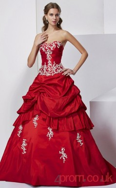 Burgundy Taffeta Sweetheart Floor-length Ball Gown Quincenera Dress(JT2010)