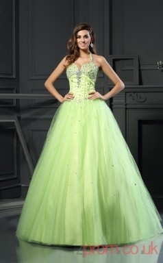 Sage Satin Tulle Halter Floor-length Princess Quincenera Dress(JT2013)
