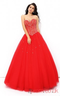 Red Tulle Sweetheart Floor-length Princess Quincenera Dress(JT2016)