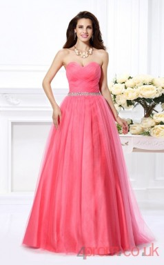 Watermelon Tulle Sweetheart Floor-length Princess Quincenera Dress(JT2022)