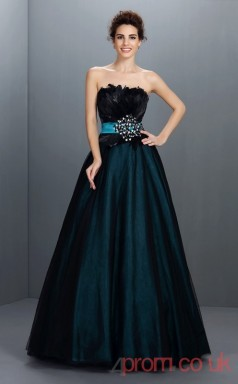Ink Blue Organza Strapless Floor-length Princess Quincenera Dress(JT2041)