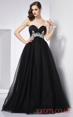 Black Tulle Sweetheart Floor-length Princess Quincenera Dress(JT2057)