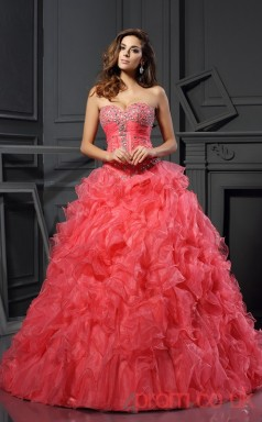 Watermelon Organza Sweetheart Floor-length Ball Gown Quincenera Dress(JT2065)