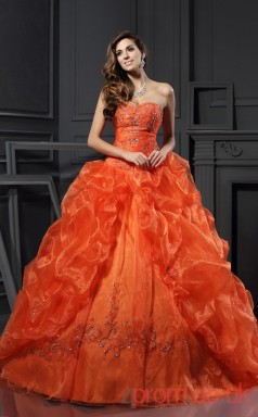 Orange Organza Sweetheart Floor-length Ball Gown Quincenera Dress(JT2070)