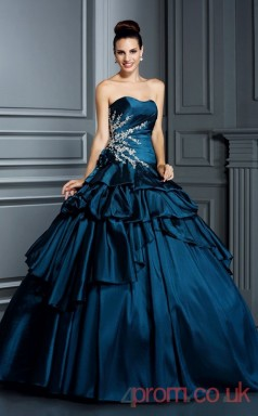 Navy Blue Taffeta Sweetheart Floor-length Ball Gown Quincenera Dress(JT2085)