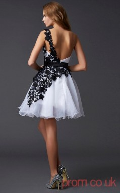 White Lace Organza A-line Short One Shoulder Graduation Dress(JT2090)