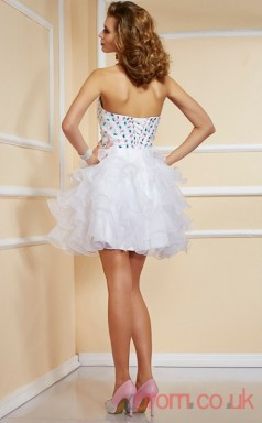 White Organza A-line Short Sweetheart Graduation Dress(JT2099)