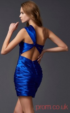 Royal Blue Stretch Satin Sequined A-line Short One Shoulder Graduation Dress(JT2106)
