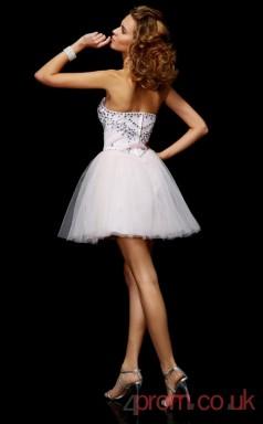White Organza A-line Short Sweetheart Graduation Dress(JT2109)
