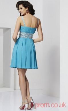Deep Sky Blue Chiffon A-line Short Sweetheart Straps Graduation Dress(JT2123)