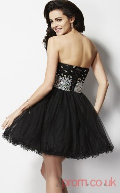 Black Tulle A-line Short Sweetheart Graduation Dress(JT2124)
