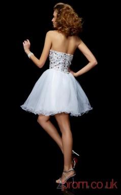 White Tulle A-line Short Sweetheart Graduation Dress(JT2126)