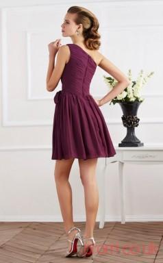 Grape Chiffon A-line Short One Shoulder Graduation Dress(JT2133)