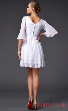 Ivory Chiffon A-line Short V-neck Half Sleeve Graduation Dress(JT2137)