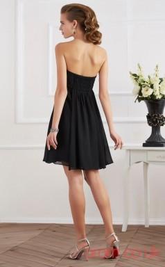 Black Chiffon A-line Short Strapless Graduation Dress(JT2138)