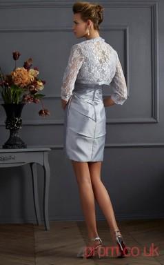 Silver Taffeta Lace Sheath Short V-neck Half Sleeve Graduation Dress(JT2140)