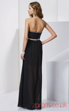 Black Sequined Chiffon Sheath Watteau Train Strapless Graduation Dress(JT2141)