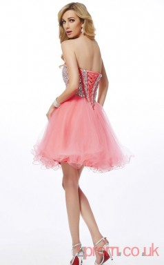 Pink Sequined Tulle A-line Short Sweetheart Graduation Dress(JT2143)
