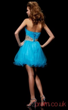 Deep Sky Blue Tulle A-line Short Sweetheart Graduation Dress(JT2145)