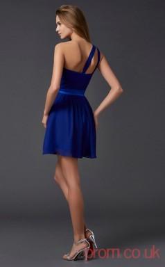 Royal Blue Chiffon A-line Short One Shoulder Graduation Dress(JT2147)