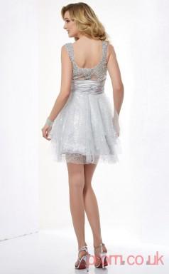 Gray Lace A-line Short Square Graduation Dress(JT2156)