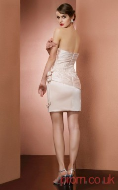 Nude Lace Satin Chiffon Sheath Short Strapless Graduation Dress(JT2162)