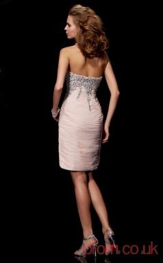 Pink Chiffon Sheath Short Strapless Graduation Dress(JT2168)