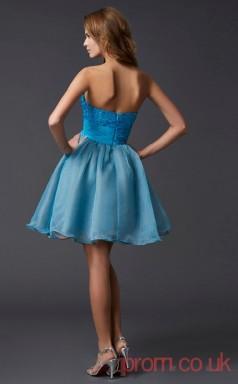 Deep Sky Blue Organza A-line Short Sweetheart Graduation Dress(JT2175)