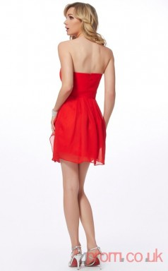 Red Chiffon Sheath Short Sweetheart Graduation Dress(JT2183)