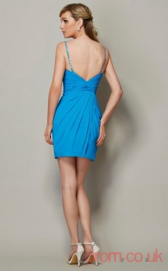 Pool Chiffon Sheath Short Straps Graduation Dress(JT2204)