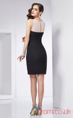 Black Taffeta Sheath Short V-neck Graduation Dress(JT2207)