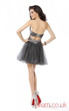 Dim Gray Chiffon A-line Short Sweetheart Graduation Dress(JT2213)