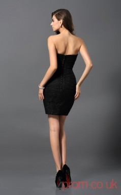 Black Charmeuse Sheath Short Sweetheart Graduation Dress(JT2222)