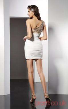 Ivory Chiffon Sheath Short One Shoulder Graduation Dress(JT2228)