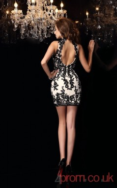 Black Lace Sheath Short Halter Graduation Dress(JT2229)