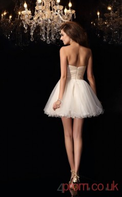 Champagne Tulle Satin Chiffon A-line Mini Sweetheart Graduation Dress(JT2232)