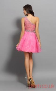 Hot Pink Organza A-line Mini One Shoulder Graduation Dress(JT2238)