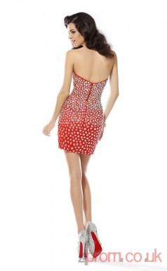 Red Stretch Satin Sheath Mini Sweetheart Graduation Dress(JT2253)