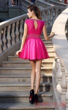 Fuchisa Chiffon A-line Mini Bateau Short Sleeve  Graduation Dress(JT2260)