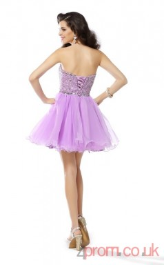 Lilac Tulle A-line Mini Sweetheart Graduation Dress(JT2267)
