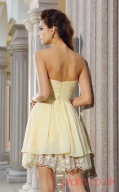 Floral White Lace Chiffon A-line Mini Sweetheart Graduation Dress(JT2270)