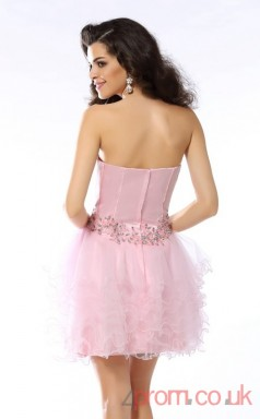 Candy Pink Satin Tulle A-line Mini Sweetheart Graduation Dress(JT2271)