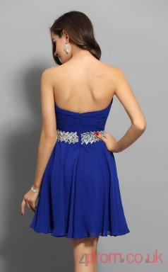 Royal Blue Chiffon A-line Mini Sweetheart Graduation Dress(JT2275)